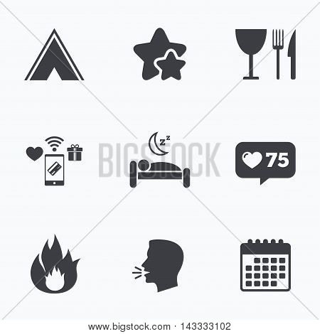 Food, sleep, camping tent and fire icons. Knife, fork and wineglass. Hotel or bed and breakfast. Road signs. Flat talking head, calendar icons. Stars, like counter icons. Vector