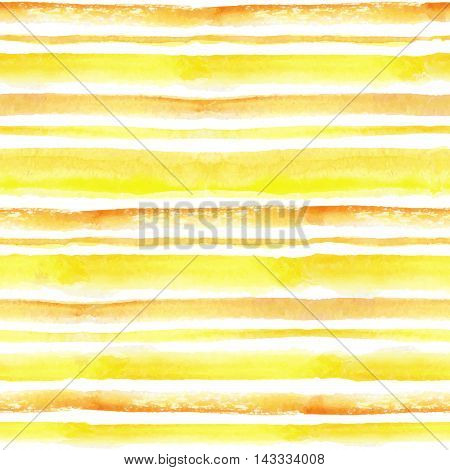 Watercolor seamless pattern borders. Yellow, orange horizontal strips.Sun ray, summer, hot. Hand drawing painting background .For Backdrop and background.Fabric and Wallpaper.Vector.Travel and vacation design.