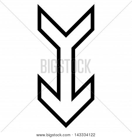 Arrow Down vector icon. Style is outline icon symbol, black color, white background.