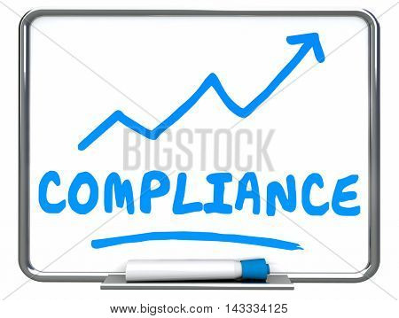 Compliance Rising Arrow Up Increase Improve Erase Board 3d Illustration