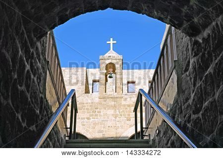 JAFFA ISRAEL - AUGUST 07 2016: Patio of the ancient Armenian Convent of St. Nicholas in Jaffa