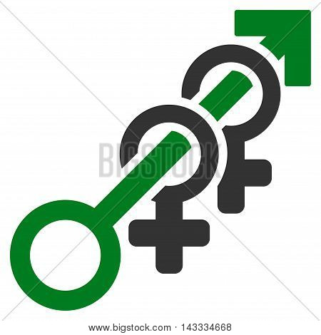 Harem icon. Vector style is bicolor flat iconic symbol with rounded angles, green and gray colors, white background.