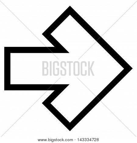 Arrow Right vector icon. Style is outline icon symbol, black color, white background.