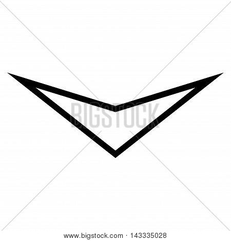 Arrowhead Down vector icon. Style is stroke icon symbol, black color, white background.