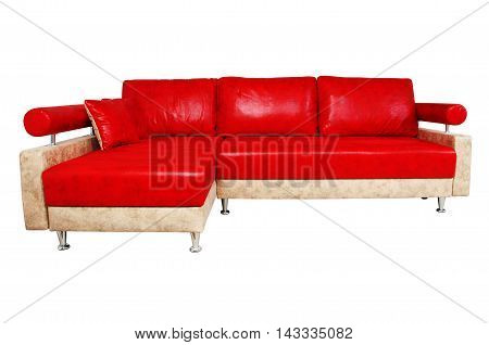 Very Nice Red Sofa Isolated On White Background