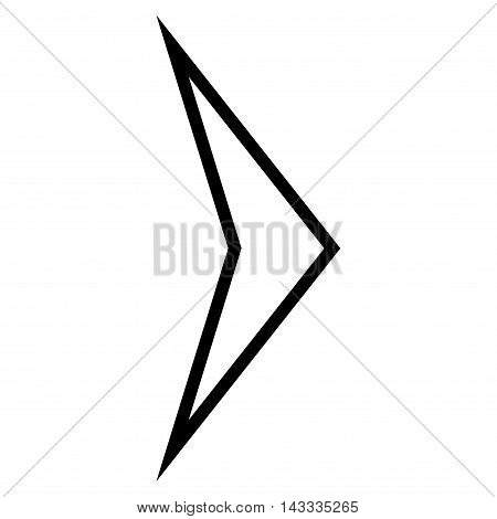 Arrowhead Right vector icon. Style is thin line icon symbol, black color, white background.