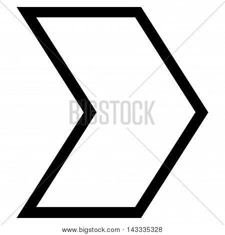Arrowhead Right vector icon. Style is stroke icon symbol, black color, white background.