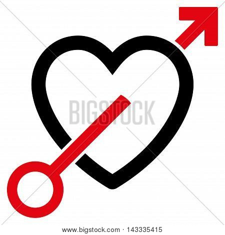 Love Arrow icon. Vector style is bicolor flat iconic symbol with rounded angles, intensive red and black colors, white background.
