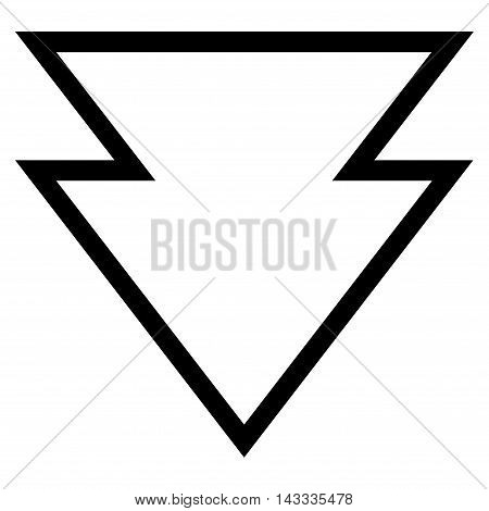 Direction Down vector icon. Style is stroke icon symbol, black color, white background.