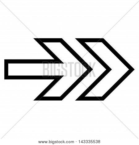 Direction Right vector icon. Style is thin line icon symbol, black color, white background.