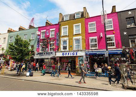 Shopping Street In Camden, London, Uk