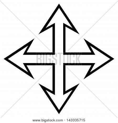 Expand Arrows vector icon. Style is contour icon symbol, black color, white background.