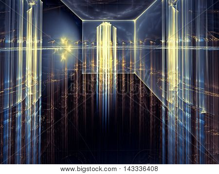 Abstract technology background - computer-generated image. Fractal art - room with glass walls and ceiling, which can be seen through a futuristic city with skyscrapers.