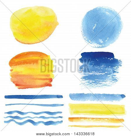 Watercolor hand painting stains, spot and wavy brushes set. Light blue, cyan and yellow color.Design template.Vintage vector, summer background.Holiday, vacation artistic texture, sea wave, water, sky, sun