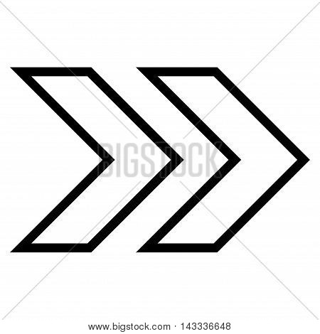 Shift Right vector icon. Style is stroke icon symbol, black color, white background.