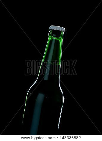 A Green Bottle Beer Over Black Background With Shadow