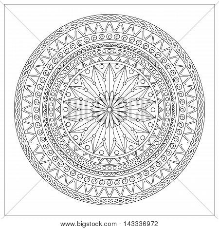Mandala with hand drawn elements in the Arabic Indian turkish pakistan ottoman tribal motifs. Image for adult coloring book tattoo decorate plates porcelain ceramics crockery. eps 10