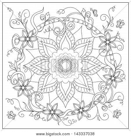 Hand drawn tangled flowers and butterflies in the circle. Image for adult coloring book decorate plates porcelain ceramics crockery. eps 10