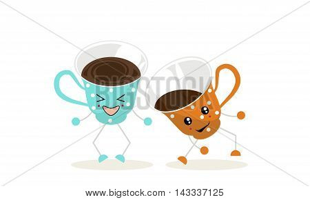 The illustration.One cup of blue color with white polka dots and one cup of orange color with white polka dots dance and laugh.