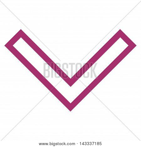 Arrowhead Down vector icon. Style is thin line icon symbol, purple color, white background.