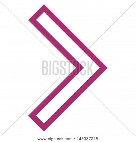 Arrowhead Right vector icon. Style is contour icon symbol, purple color, white background.