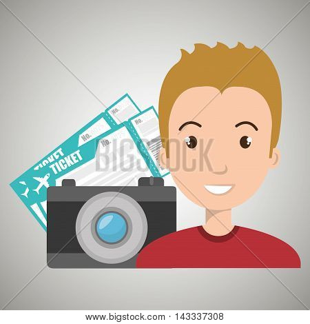 man camera tickets travel vector illustration  design