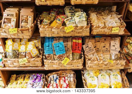 Riomaggiore Italy - July 02 2016: Italian delicacies at a shop display in Riomaggiore Cinque Terre. The 5 villages are world famous and listed under UNESCO world heritage sites