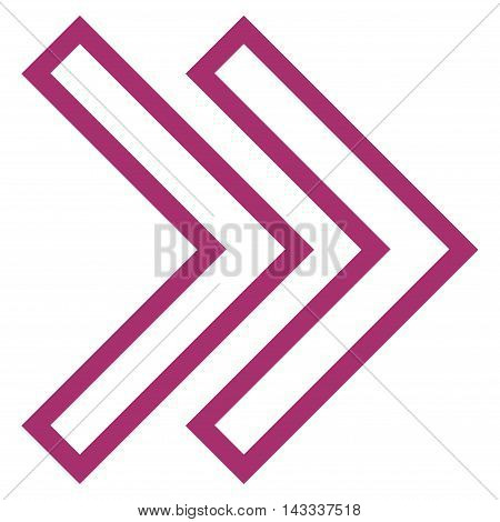 Shift Right vector icon. Style is stroke icon symbol, purple color, white background.
