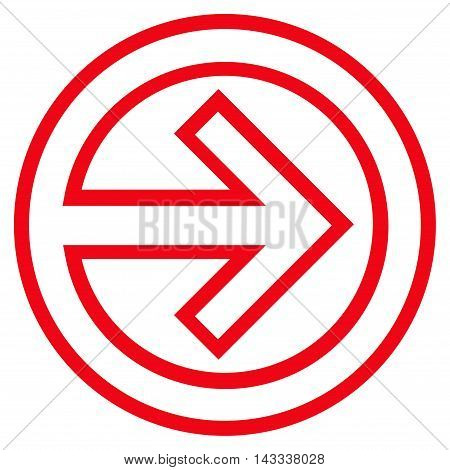 Import vector icon. Style is outline icon symbol, red color, white background.