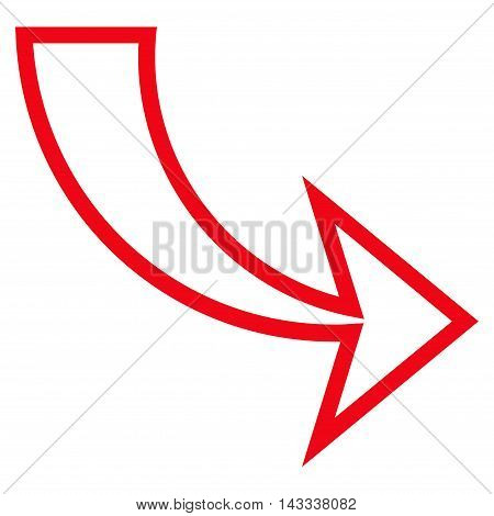 Redo vector icon. Style is stroke icon symbol, red color, white background.