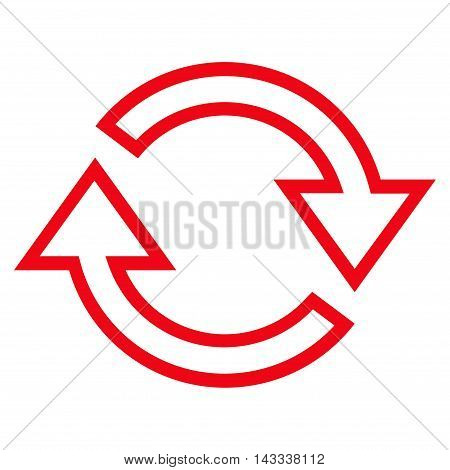 Refresh Arrows vector icon. Style is contour icon symbol, red color, white background.