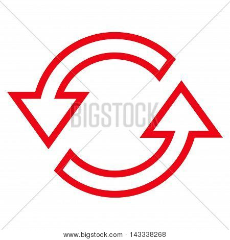 Sync Arrows vector icon. Style is thin line icon symbol, red color, white background.