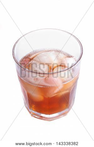 The Misted Over Glass Of Whisky With An Ice
