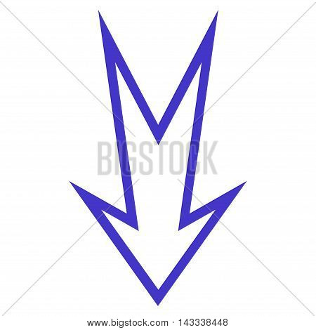 Arrow Down vector icon. Style is thin line icon symbol, violet color, white background.