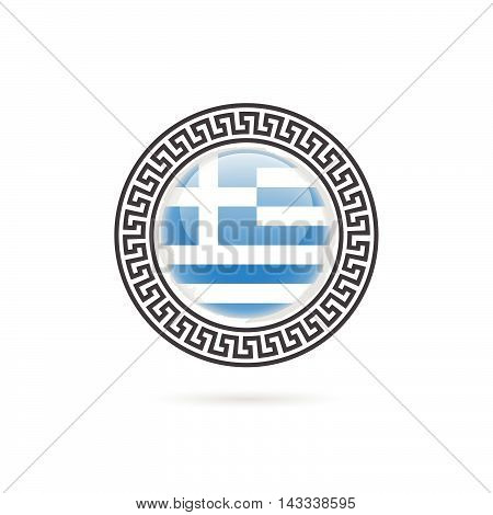 Greece Flag Hellas Design Art Illustration In Colorful
