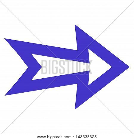 Arrow Right vector icon. Style is contour icon symbol, violet color, white background.