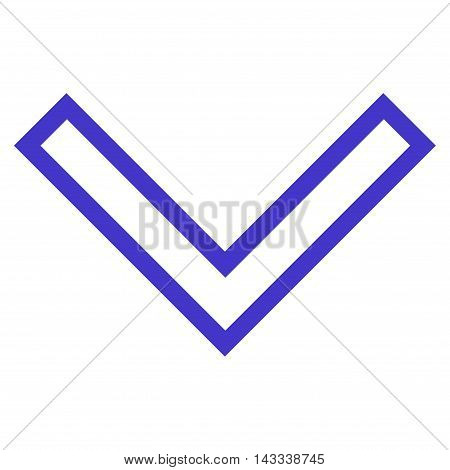 Arrowhead Down vector icon. Style is outline icon symbol, violet color, white background.