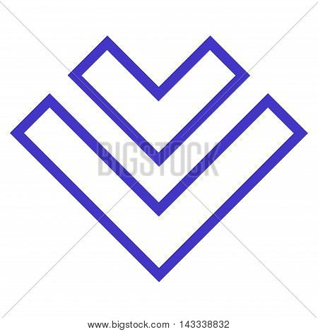 Direction Down vector icon. Style is contour icon symbol, violet color, white background.