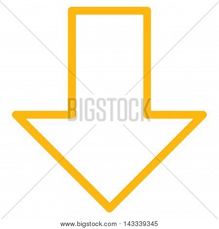 Arrow Down vector icon. Style is stroke icon symbol, yellow color, white background.