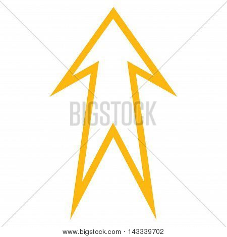Arrow Up vector icon. Style is contour icon symbol, yellow color, white background.