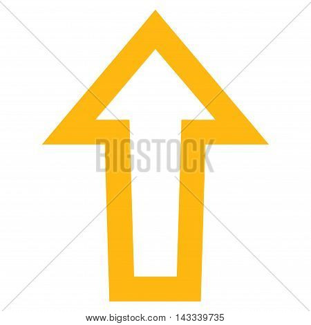 Arrow Up vector icon. Style is outline icon symbol, yellow color, white background.