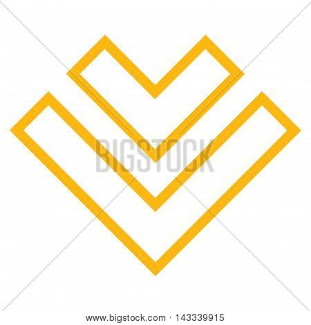 Direction Down vector icon. Style is stroke icon symbol, yellow color, white background.