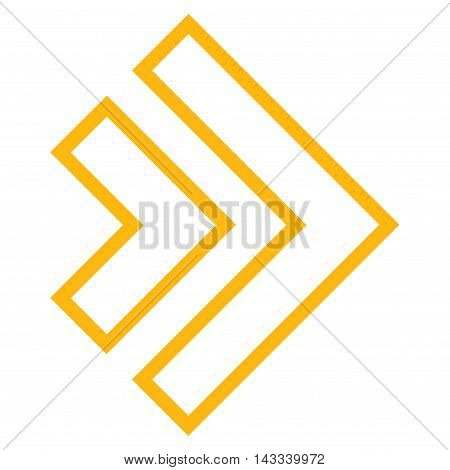 Direction Right vector icon. Style is thin line icon symbol, yellow color, white background.