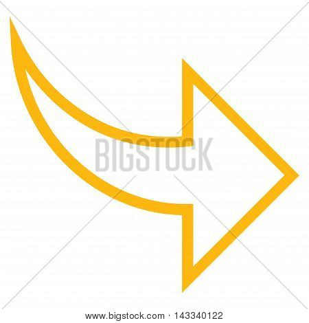 Redo vector icon. Style is contour icon symbol, yellow color, white background.