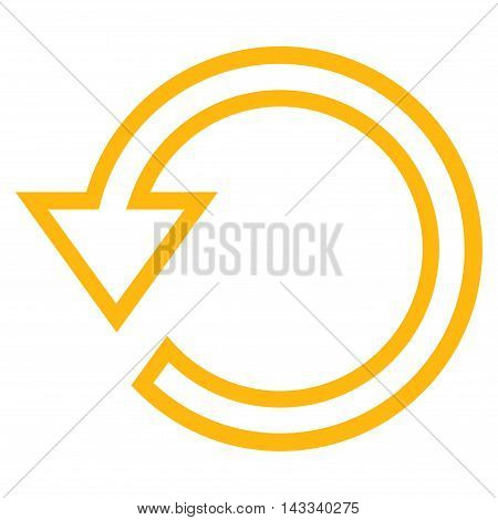 Rotate vector icon. Style is outline icon symbol, yellow color, white background.