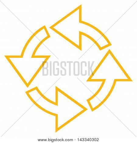 Rotation vector icon. Style is stroke icon symbol, yellow color, white background.