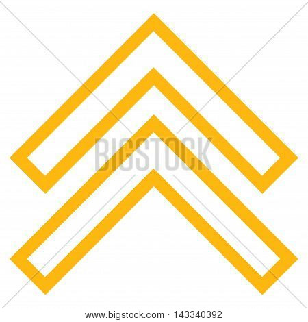 Shift Up vector icon. Style is outline icon symbol, yellow color, white background.
