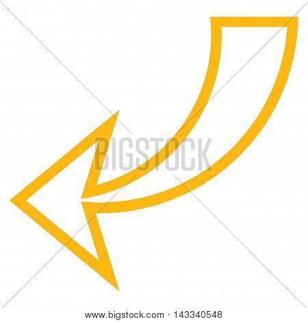 Undo vector icon. Style is stroke icon symbol, yellow color, white background.