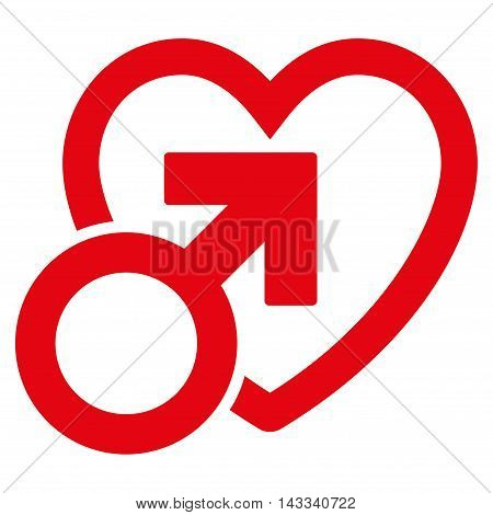 Male Love icon. Vector style is flat iconic symbol with rounded angles, red color, white background.