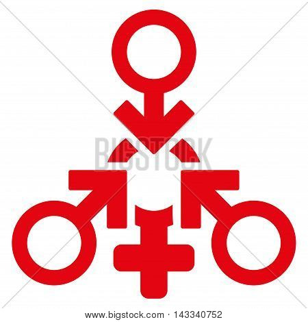 Triple Penetration Sex icon. Vector style is flat iconic symbol with rounded angles, red color, white background.